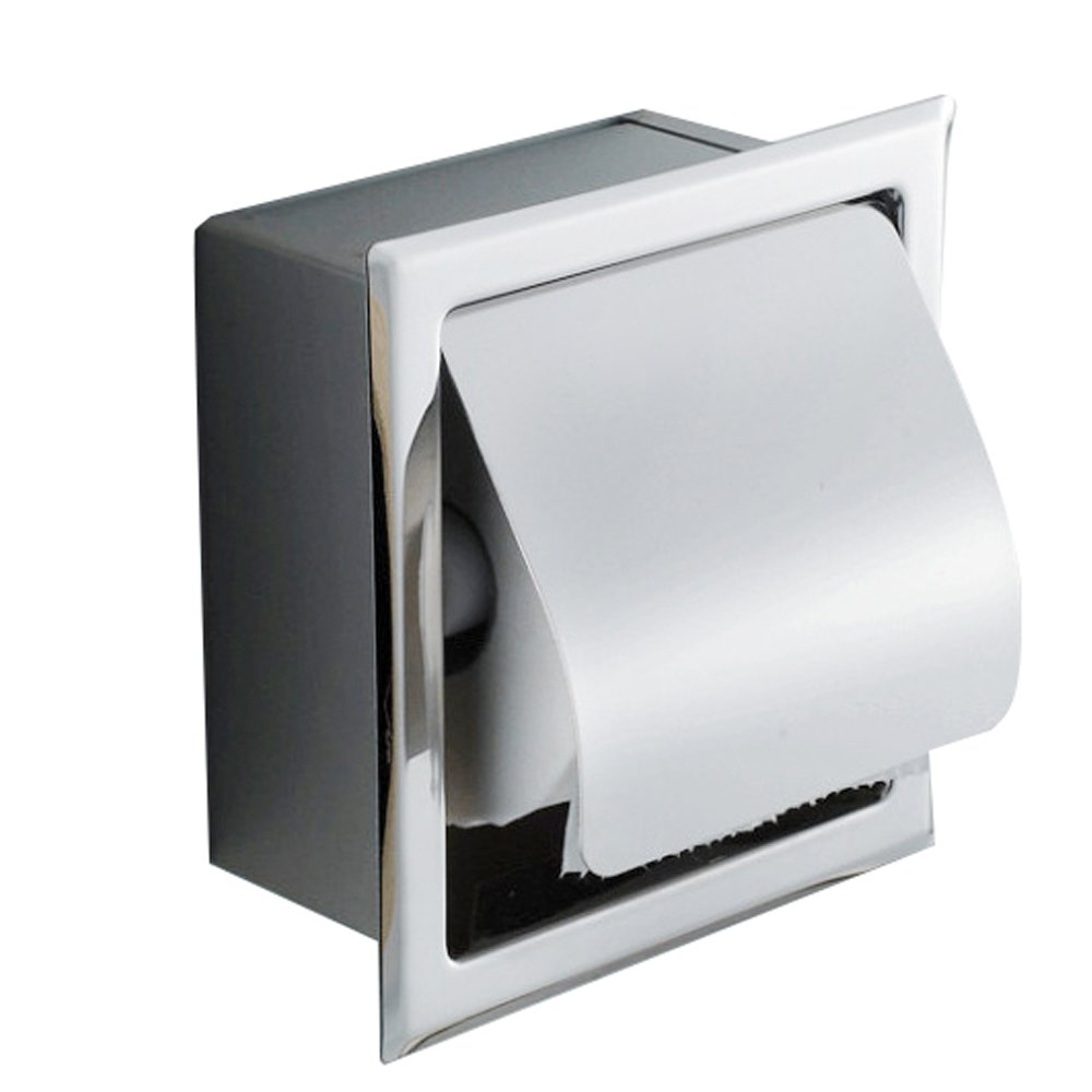 Fencia Toilet Paper Holder, Stainless Steel Waterproof Recessed Wall Mount Chrome Finish with Cover Roll Paper Holder Tissue Dispenser,Rustproof Bathroom Toilet Paper Roll / Tissue Holder