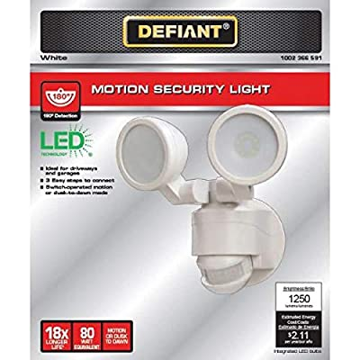 Defiant 180 Degree White Motion Activated Outdoor Integrated LED Twin Head Flood Light : Garden & Outdoor