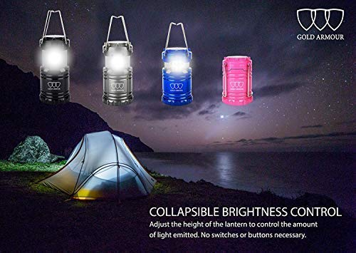 Gold Armour 4 Pack LED Lantern Camping Lanterns for Hiking, Emergency, Hurricanes, Outages, Storms