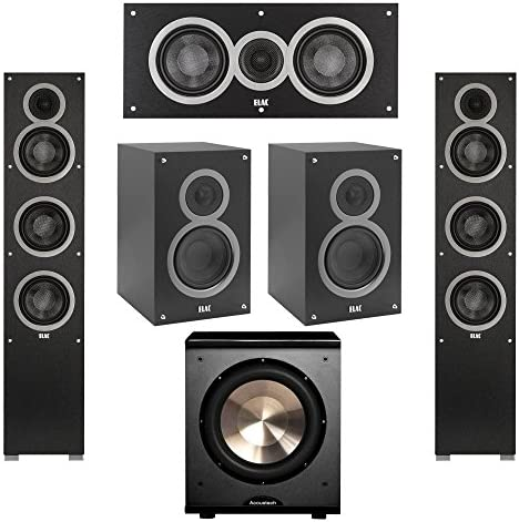 Elac 5.1 System with 2 Debut F5 Floorstanding Speakers, 1 Debut C5 Center Speaker, 2 Debut B5 Bookshelf Speakers, 1 BIC Acoustech Platinum Series PL-200 Subwoofer