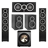 Elac 5.1 System with 2 Debut F5 Floorstanding Speakers, 1 Debut C5 Center Speaker, 2 Debut B5 Bookshelf Speakers, 1 BIC/Acoustech Platinum Series PL-200 Subwoofer