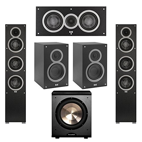 Elac 5.1 System with 2 Debut F5 Floorstanding Speakers, 1 Debut C5 Center Speaker, 2 Debut B5 Bookshelf Speakers, 1 BIC/Acoustech Platinum Series PL-200 Subwoofer by Elac
