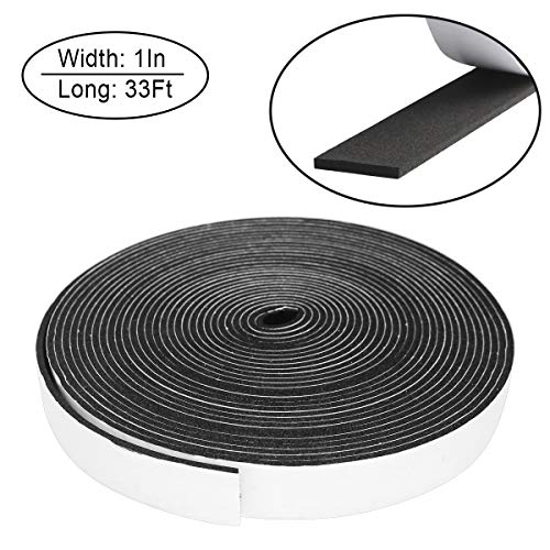 Foam Insulation Tape self Adhesive,Weather Stripping for Doors and Windows,Sound Proof soundproofing Door Seal,Weatherstrip,Cooling, Air Conditioning Seal Strip (1In x 1/8In x 33Ft, Black) ()
