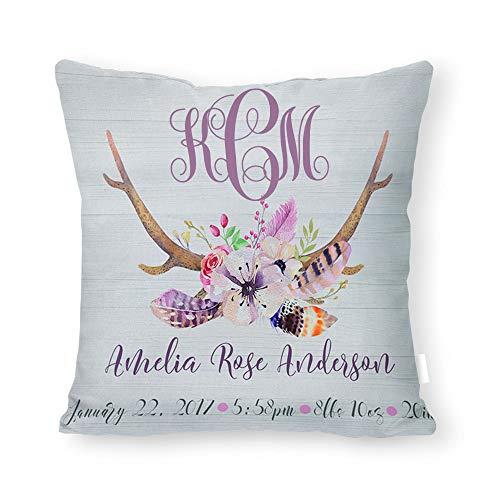 Deer Antler Baby Gift, Deer Antler Nursery Decor, Antlers Baby Pillow, Woodland Baby Pillow, Antler Kids Room Decor