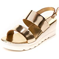 MarcLoire Women Floaters & Outdoor Sandals, Girls Fashion Floaters Sandals, Open Toe Sandals with Buckle Closure, Flatform Sandals - Synthetic, Golden