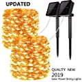 Upgraded Solar Powered String Lights, 2 Pack 8 Modes 200 LED Solar Fairy Lights Waterproof 66ft Silver Wire Lights Outdoor Garden String Lights for Home Patio Party Decoration