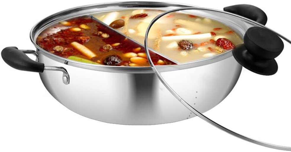 MyLifeUNIT Shabu Shabu Hot Pot, Dual Sided Yin Yang Hot Pot with Stainless Steel Divider, 12 Inch