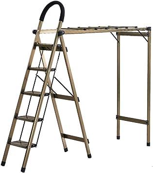 Multifuncional Escalera multiusos, Escalera metálica de tres pasos Rack de secado de balcón Escalera doméstica de cuatro pasos Escalera portátil de cinco pasos estable: Amazon.es: Bricolaje y herramientas