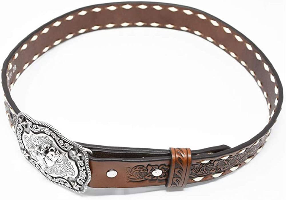 Nocona Belt Co Boys Boys Brown Floral Tooled Belt with Buckstitching and Buckle 30 Tan