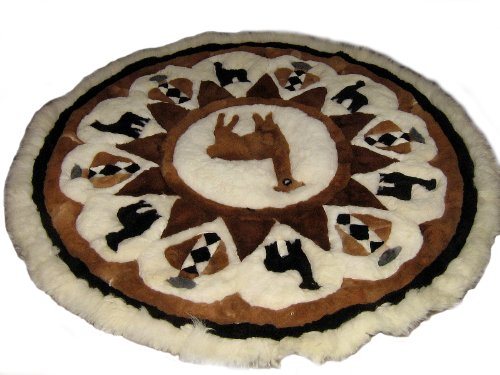 Peruvian Wall Rug - Alpakaandmore Original Peruvian Alpaca Fur Rug Round Different Sizes (170 cm/ 66.9