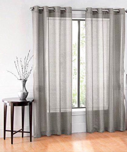 GorgeousHomeLinen RubyDifferent Colors 1 Pc Sheer Window Curtain 55″ Wide x 63″ Length Drape Panel 8 Soild Bronze Grommets (Dark Grey)