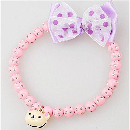 Addfavor Pet Jewelry White Pearl Beads Dog Necklace Puppy Red Cute Silk Bow Dog Cat Fashion Collar Necklace Jewelry Accessories for Wedding Party