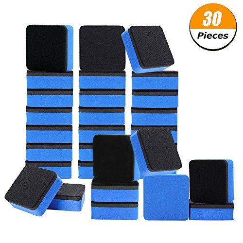 Xinzistar 30 Pack Magnetic Whiteboard Dry Erasers Chalkboard Cleansers for Classroom, Home and Office (1.97 x 1.97 inch, Blue) -