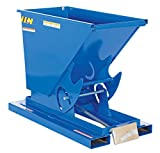 Vestil D-25-MD Medium Duty Steel Self-Dumping Hopper with Bumper Release, 1/4 cu yd Volume, 4000 lbs Capacity, Overall L x W x H (in.) 51-7/8'' x 26'' x 38-1/16, Blue