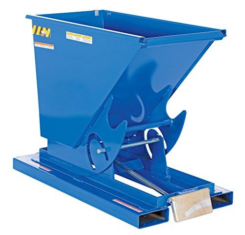 Vestil D-25-MD Medium Duty Steel Self-Dumping Hopper with Bumper Release, 1/4 cu yd Volume, 4000 lbs Capacity, Overall L x W x H (in.) 51-7/8'' x 26'' x 38-1/16, Blue by Vestil