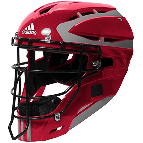 adidas Performance PRO Series Baseball Catchers Helmet, Power Red/Silver, One Size ()