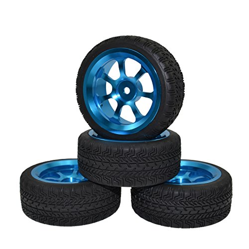Alloy Road Wheels (4PCS 1:10 Aluminum Alloy Wheel Rims with Rubber Tires for HPI HSP On Road Racing Car)