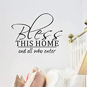 Bless This Home and All Who Enter Welcome Scripture Vinyl Wall Decal Sticker Window Quote Décor House Art Saying PVC Decor Adhesive Lettering Living Room Decoration Boys Girls Baby Letters