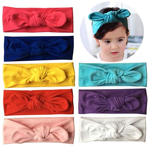 Qandsweet Baby Hairband Girl Elastic Hair Accessories Headbands (8 Pack Solid Bunny Ears) ()