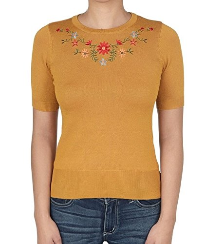 1930s Style Sweaters | Vintage Sweaters YEMAK Daisy Flower Embroidered Cute Pullover Sweater Vintage Inspired MK3664EMBO(S-L) $21.50 AT vintagedancer.com