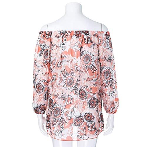 Shirt Habite Blanc 3 Longue Haut Florale SANFAHSION Basique Mode Casual Manche Femme Tee Automne Hiver paule Tops Dnud Chemise Chic Lin Vetement 1RTxwR0q