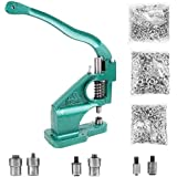 SKEMIX Hand Press Heavy Duty Grommet Machine with 3 Dies (#0#2#4) and 1500 Pcs Grommets Eyelet Tool Kit