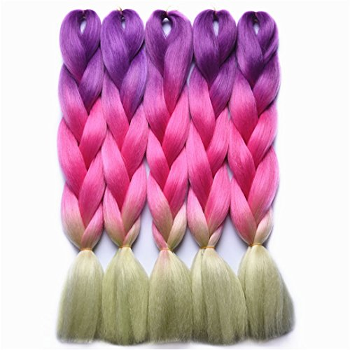 Price comparison product image Braiding Hair Extensions Japanese Fiber 24 Inch 100G/Pc Gray/Purple/Blue/Red Crochet Braids Hair #35 24inches