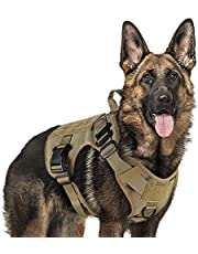 rabbitgoo Tactical Dog Harness for Large Medium Dogs, Military Dog Harness with Handle, No-Pull Service Dog Vest with Molle & Loop Panels, Adjustable Dog Vest Harness for Training Hunting Walking, Brown, Large