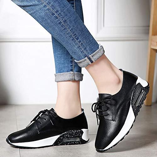 ZHZNVX Zapatos de Cuero para Mujer Cuero Minimalismo y Primavera Zapatillas de Deporte Heel Flat Heel Toe Hebilla Blanco/Negro Black