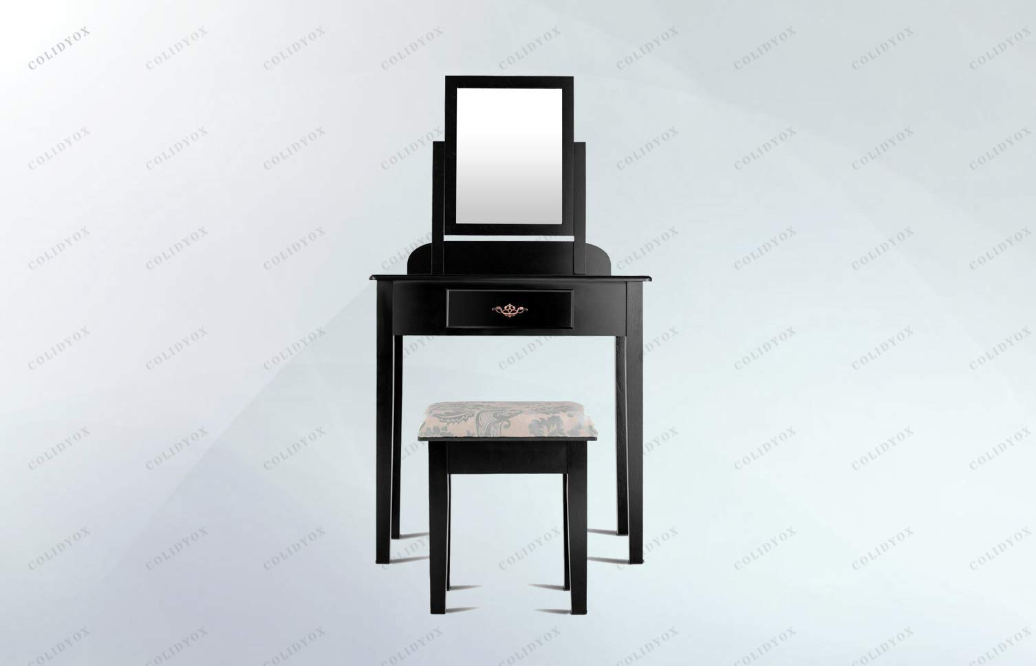 COLIDYOX>Makeup Desk Vanity Dressing Table Set W/Square Mirror Stool 1 Large Drawer Black, Made of Solid Wood Plus MDF, Durable and Sturdy, Padded with Soft Cushioning, is Comfortable to sit.