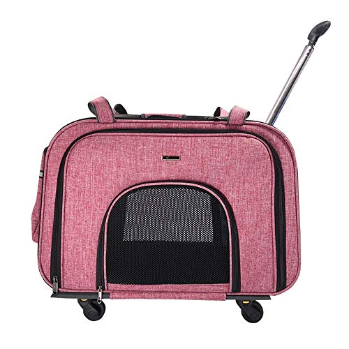 GYJ Pet Trolley Case Expandable Carrier Multi-pet Portable Travel Cart Two Side Expansion, Designed for Cats, Dogs, Kittens, Extra Spacious,Pink