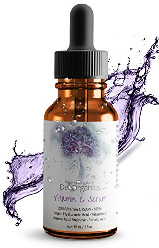20% Micro-Encapsulated Vitamin C Serum: Vegan Hyaluronic Acid+Vit E+MSM; 76% Organic; Boosts Collagen Production, Antioxidant, Anti Aging; Lightens Scars; Whitening Serum