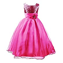 Storeofbaby Little Big Girls' Sequin Tulle Princess Party Dress with Belt