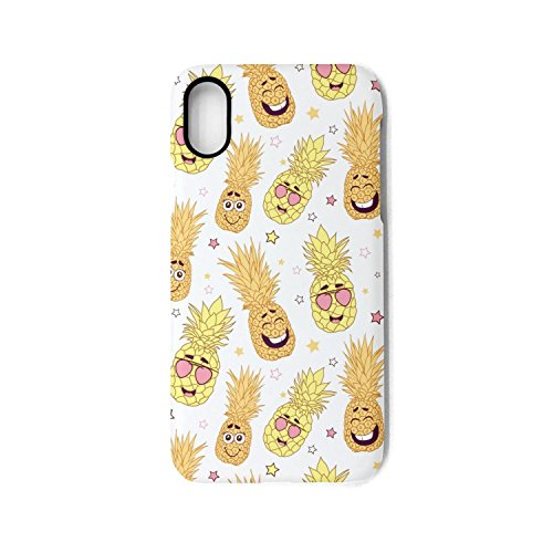 iPhone Case Funny Yellow Pineapple Faces White Slim Flexible Soft Silicone Bumper Shockproof Case for iPhone X
