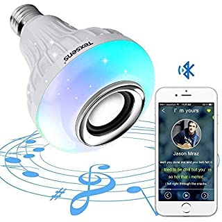 Texsens Bluetooth Light Bulb Speaker Generation II Smart LED Music Lamp with Updated Remote Control