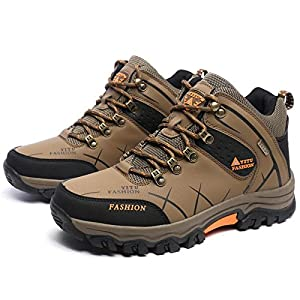 GOMNEAR Men's Hiking Boots High Top Trekking Shoes Non Slip Ankle Support Breathable Comfortable Walking Climbing Sneakers,Khaki-45