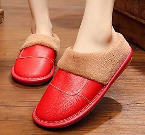 Cattior Maison Chaude En Cuir Pantoufles Femmes Maison Chaussures Rouge
