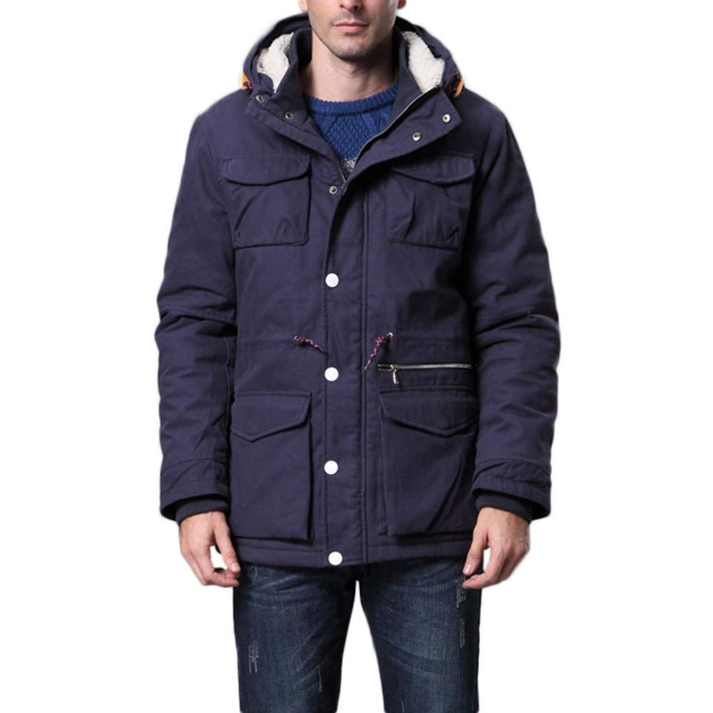 Pocket Thick Cotton Outwear Autumn Winter Hooded Long Sleeve Warm Overcoat Tops OSTELY Mens Coat