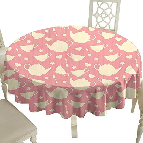 Clear Round Tablecloth 65 Inch Tea Party,White Teapots with Cute Little Hearts and Flowers Illustration British Tradition,Cream Coral Great for Traveling & More