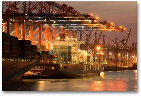 Calvendo Tela In Tessuto Di Alta Qualità, 90 Cm X 60 Cm Orizzontale, Con Barca Dei Container Di Hanjin, Immagine Su Telaio, Pronta Da Appendere, Stampa Su Tela Orte