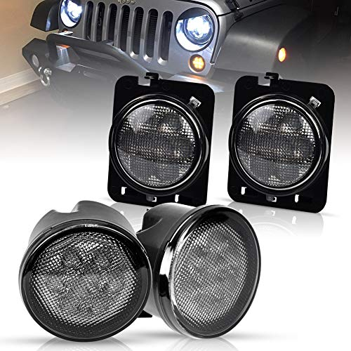 Smoke Yellow LED Front Turn Signal Light & Fender Side Marker Parking Light Assembly for 2007-2016 Jeep Wrangler JK