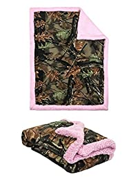 Baby Girls Green Camo and Pink Soft Sherpa Blanket with Coral Fleece
