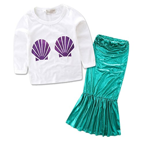 Princess Girls Sequins Mermaid Tails Costume Long Sleeve T-shirt+Dress Outfits, Green, 5T(120) for $<!--$14.78-->