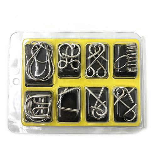 anyilon 8 Pcs/Set Brain Puzzles Chinese 9 Ring Puzzle Toy Intelligence Buckle Lock Toy Consisting of Nine Interlocking Links