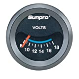 Sunpro CP7985 CustomLine Electrical Voltmeter - Black Dial