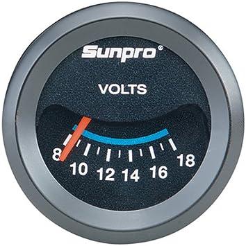"Sunpro 2/"" Volt Gauge Black Bezel"
