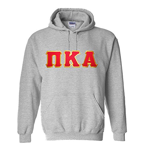 (Greekgear Pi Kappa Alpha Lettered Hooded Sweatshirt Medium Sports Grey)