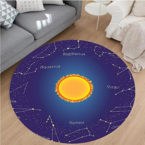 10' Circular Chart (Nalahome Modern Flannel Microfiber Non-Slip Machine Washable Round Area Rug-elestial Star Chart Constellation around Sun on the Sky Aries Decorative Dark Blue Orange area rugs Home Decor-Round 67