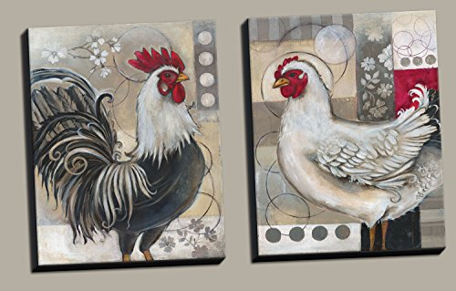 2 Popular Retro Rooster and Chicken Set; Kitchen Decor; Two 11x14 Hand-Stretched Canvases. Red/Black/White/Grey - Canvas Rooster Print Set