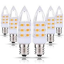 JCase LED C7 Night Light Bulbs, 2W (15W Incandescent Equivalent), 200LM, Warm White (3000K), 120V, E12 Candelabra Base, Decorative Lights, Mason Jar Lights, Window Candle Lights (Pack of 6)